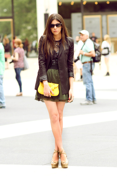 green Leyendecker skirt - green wedges Moschino shoes - black storets blazer