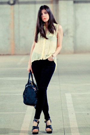 sheer Love Clothing blouse - skinny jeans Topshop jeans - Rocco Duffel bag