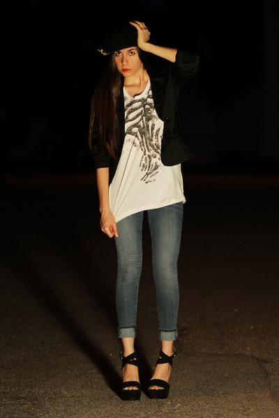 black Dolce and Gabbana shoes - blue James Jeans jeans - white Logo t-shirt - bl