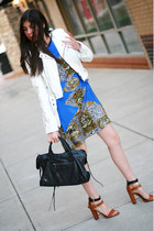 Christine Alcalay dress - Shop Goldie jacket - balenciaga bag - Zara sandals