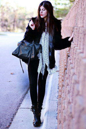 heart print necessary clothing blouse - Guess boots - faux fur asos coat