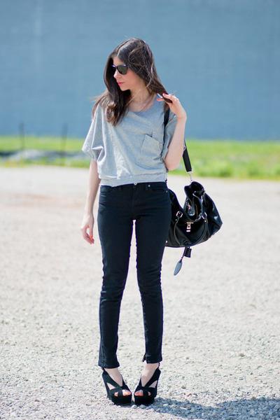 wedges Jeffrey Campbell shoes - Topshop jeans - crop Socilaite top
