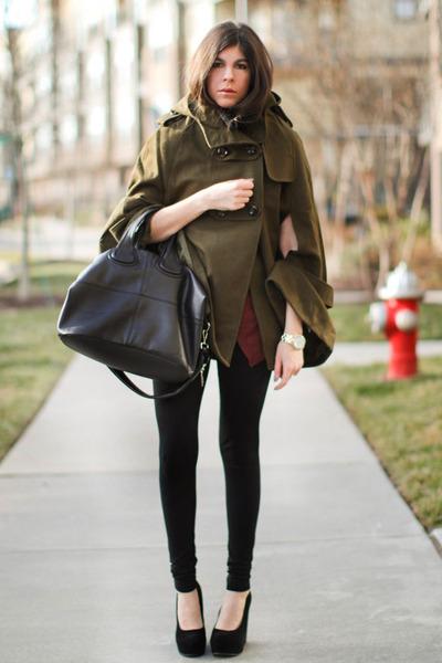 black So Low leggings - black nightingale Givenchy bag - black Aldo wedges - dar