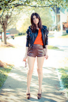 balenciaga shoes - leather Bebe jacket - leather abercrombie and fitch shorts -
