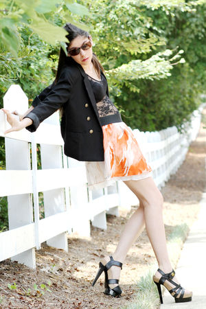 black hm blazer - black balenciaga shoes - brown vintage sunglasses