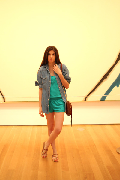 blue Topshop shirt - green volcom shorts - brown Rebecca Minkoff purse - brown U