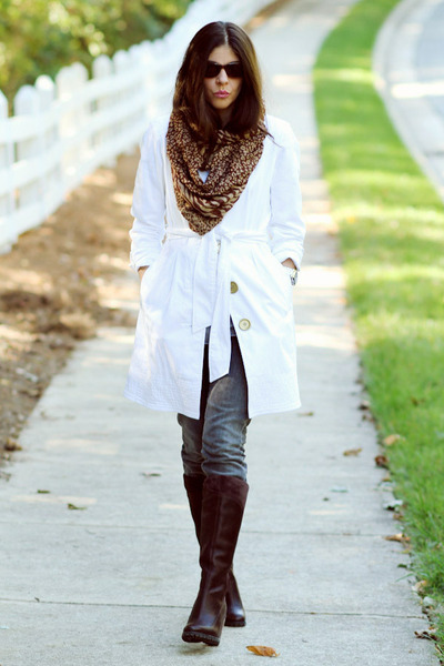 white Rampage clogs - brown scarf - gray Earnest Sewn jeans - brown Timberland b