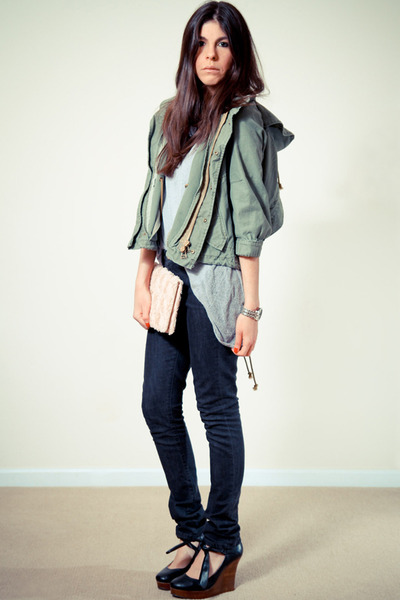 black superfine jeans - black Chloe wedges - forest green koshki jacket - light