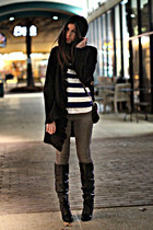 black Gucci boots - black vintage coat - heather gray INC jeans - black asos hat