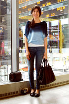 blue Monday Martini blouse - blue James Jeans jeans - black Old Navy shoes - bla