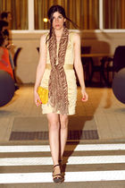 gold Ports 1961 dress - brown franco sarto shoes - gold Mar Y Sol bag - brown sc
