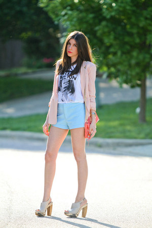 pink blazer - J Crew shorts - Aldo heels - brixton t-shirt