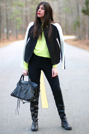 Zara jacket - Wanted Shoes boots - American Apparel sweater - balenciaga bag