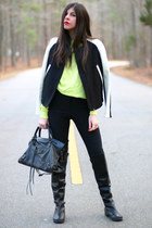 Zara jacket - Wanted Shoes boots - American Apparel sweater - balenciaga bag