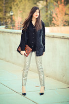 faux fur vintage vest - Armani Exchange jeans - banana republic blouse
