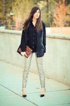 Metallic Snakeskin Print Jeans