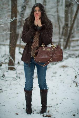 dark brown vintage coat - navy Joes Jeans jeans - dark brown Timberland boots -