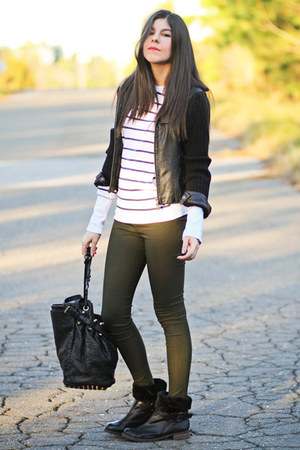Alexander Wang bag - Matt Bernson boots - romwe leggings - stripes Hurley top