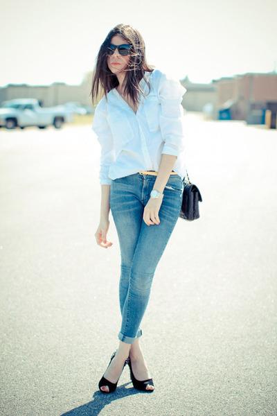 James Jeans jeans - sam edelman heels - asos blouse - Ralph Lauren watch
