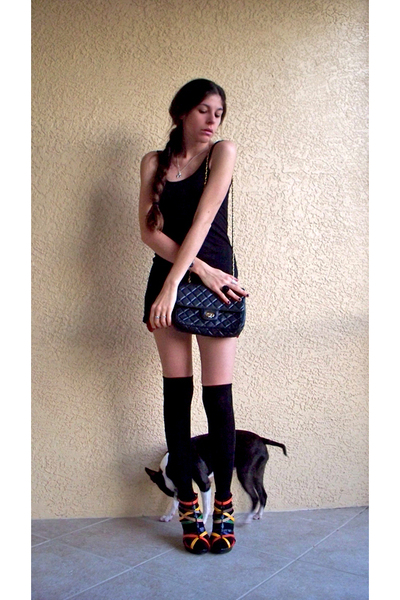red shorts - black Nine West top - black bare style socks - red Glaze shoes - bl
