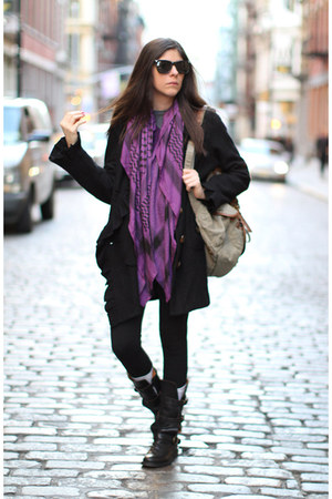 black vintage coat - deep purple Forever 21 scarf - black So Low leggings - dark