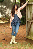 blue James Jeans jeans - pink Luphia jacket - yellow Plueys boots - blue threads