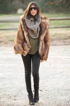 faux fur H&M coat - Topshop boots - Hudson jeans - Maisonette 1977 scarf