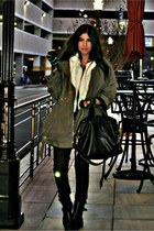 dark khaki aryn k jacket - ivory Paul and Joe cape - black superfine jeans - bla