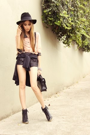 black Marisa shorts - light pink Quiet Riot shirt