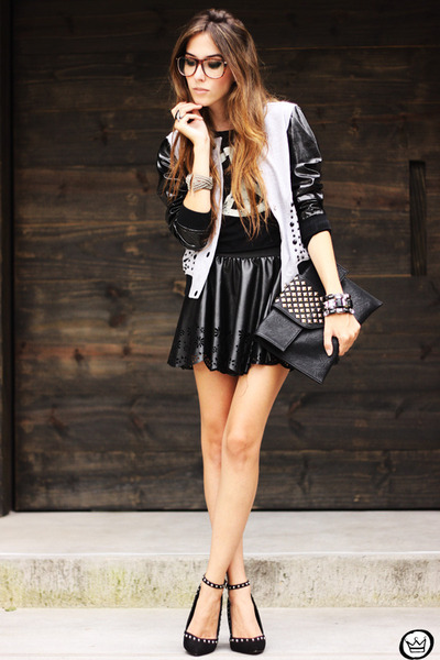 silver Labellamafia coat - black romwe t-shirt - black GoodNight Macaroon skirt