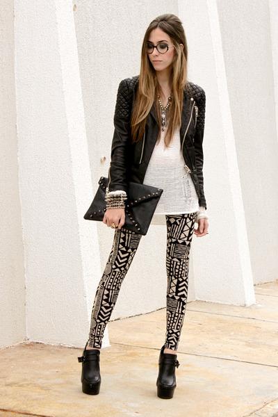 black MINUSEY jacket - black Akira leggings - white Akira jumper