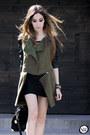Dark-green-romwe-coat-black-romwe-bag