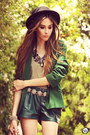 Green-she-inside-blazer-dark-green-leather-wagw-shorts