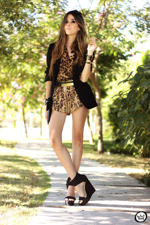 black iclothing heels - brown romwe shirt - brown Joa  Closet shorts