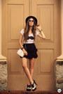White-aluska-brasileiro-t-shirt-black-romwe-skirt