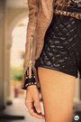 Black-timeless-bag-brown-boda-skins-jacket-black-romwe-shorts