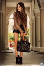 Brown-boda-skins-jacket-black-timeless-bag-black-romwe-shorts