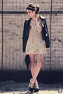 Beige-lace-sheinside-dress-black-spikes-choies-jacket