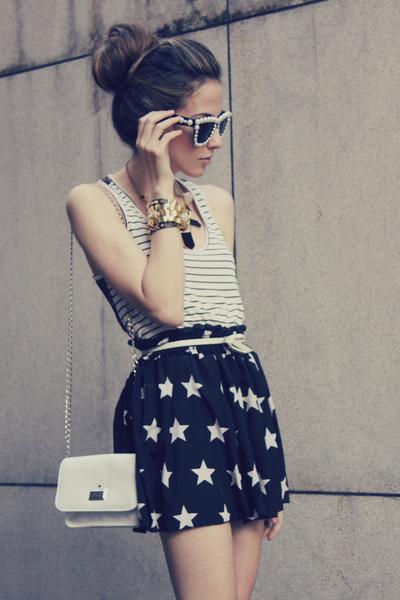 black romwe skirt - eggshell Choies sunglasses