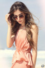 Peach-h-m-dress-brown-rounded-zero-uv-sunglasses