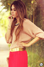 Hot-pink-pleated-furor-skirt-peach-clubcouture-top