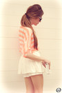 White-clothing-loves-skirt-orange-romwe-shirt-neutral-kaf-bracelet
