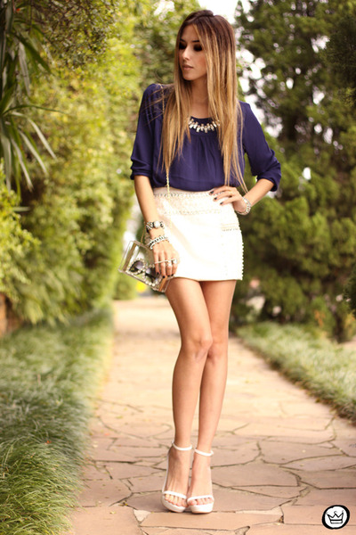 white Aremo top - navy Aremo skirt