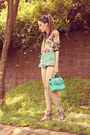 Nude-floral-print-fashioncooltureshop-coat-aquamarine-chicwish-shorts