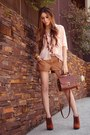 Peach-espao-1098-shirt-brown-espao-1098-shorts-burnt-orange-asos-heels