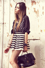 Dots-indigo-jeans-shirt-striped-romwe-skirt-cat-choies-wedges