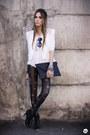 Black-labellamafia-leggings-white-romwe-blazer