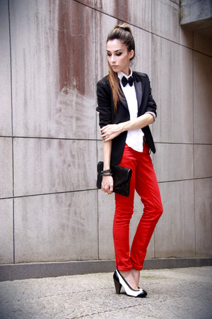 red Marisa pants - black Victor Dzenk blazer - black asos bag