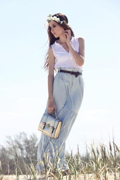 jeans skirt damyller skirt - asos bag - damyller top