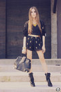 Black-sheinside-shorts-black-chicwish-cardigan